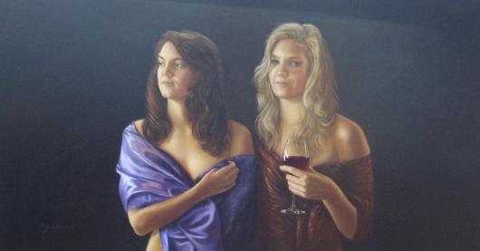 Mariska en Ilona Olieverf op paneel 90 x 160 cm