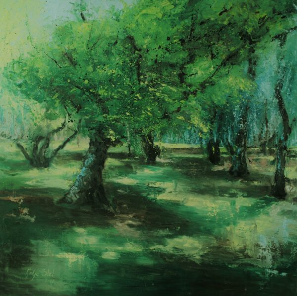 Boomgaard Olieverf op paneel 100 x 100 cm