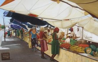 Markt op curacao Olieverf op paneel 90 x 140 cm