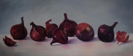 Rode uien, olieverf op paneel 52 x 122 cm