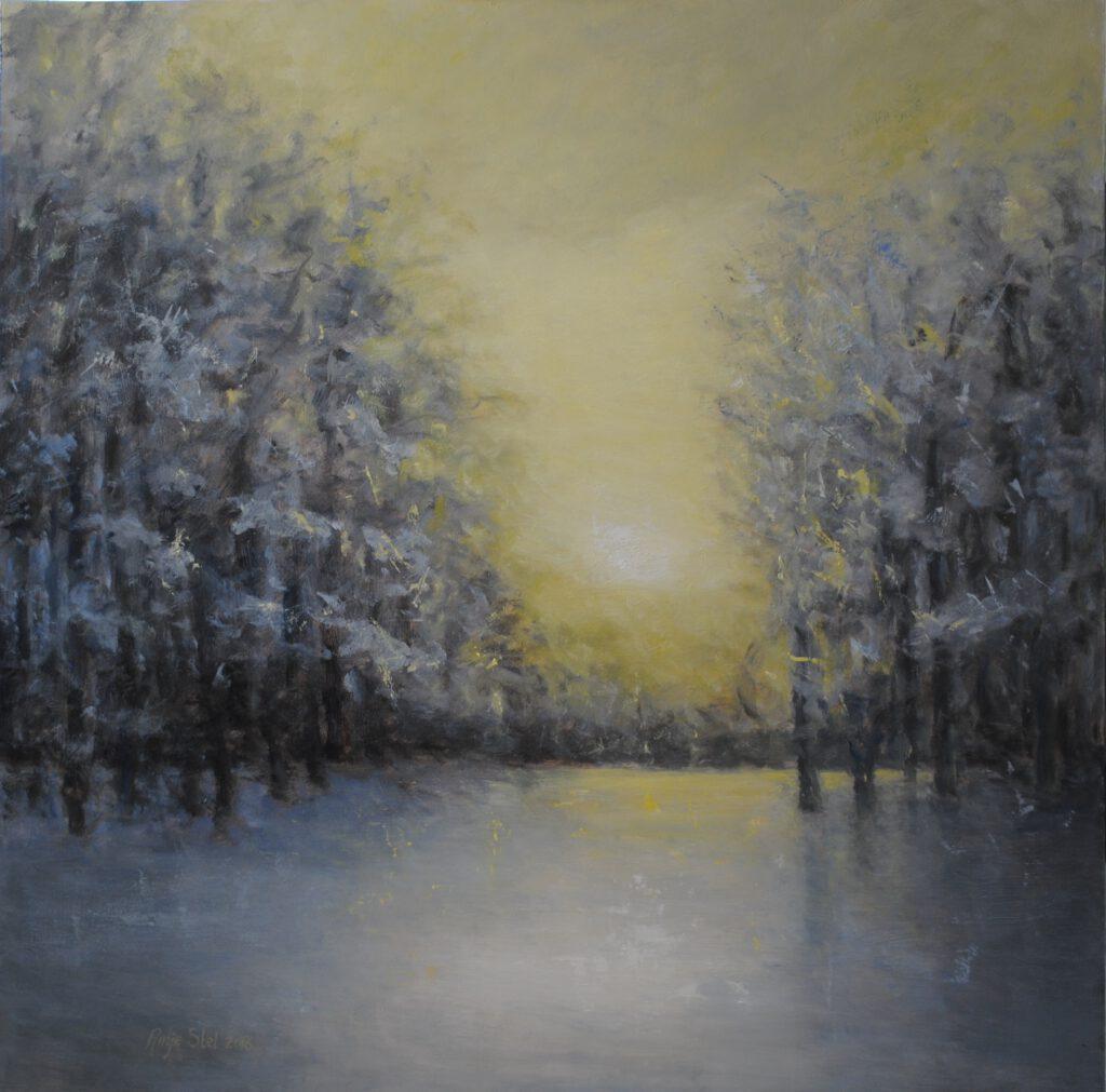 Winternamiddag Olieverf op paneel 80 x 80 cm