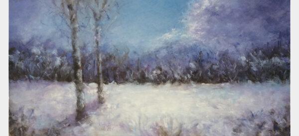 Berken in de sneeuw. Olieverf op paneel 50 x 100 cm