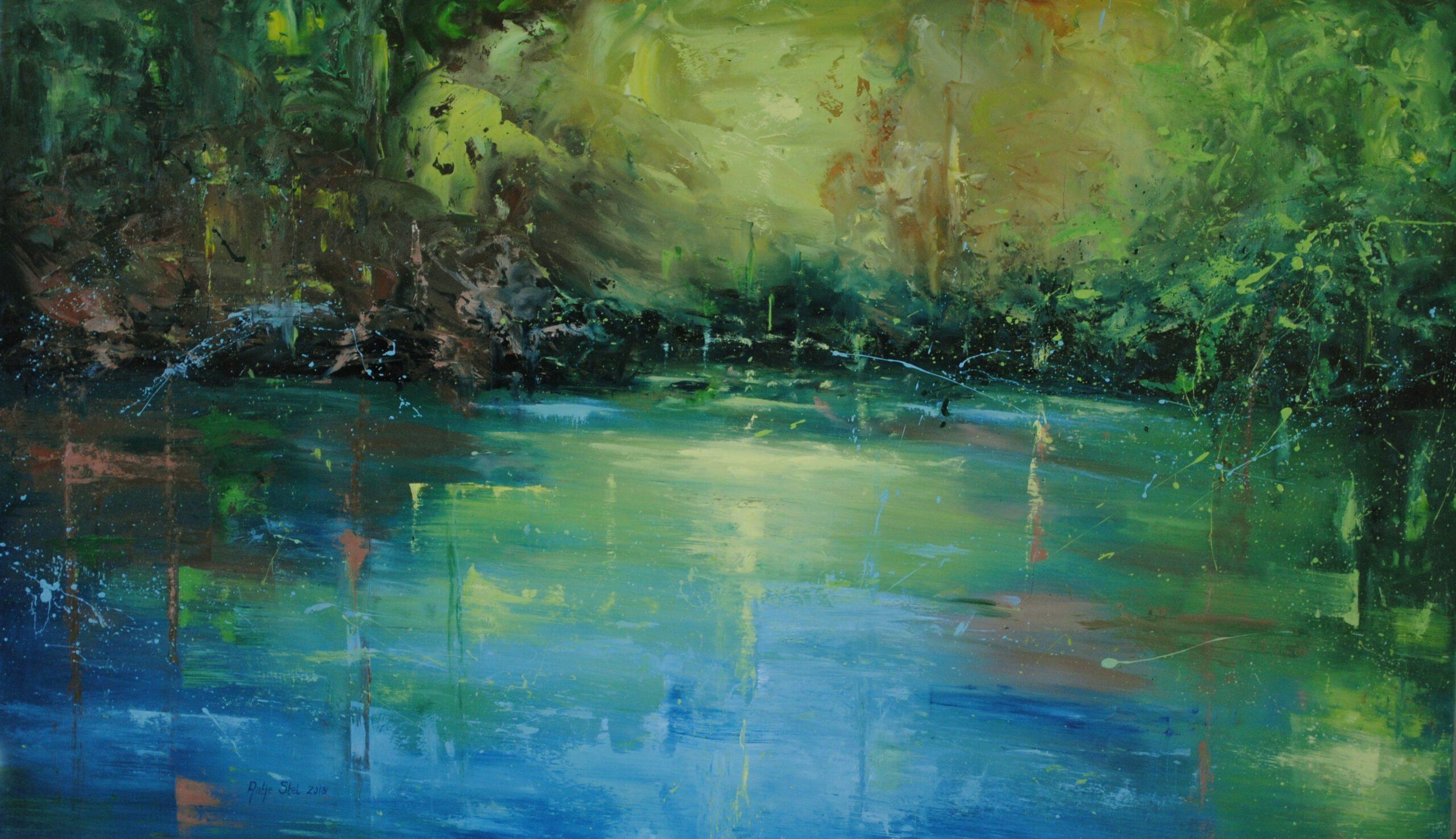Waterkant. Olieverf op paneel 75 x 125 cm