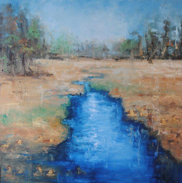 Waternimfen, Mixed media op linnen 100 x 100 cm