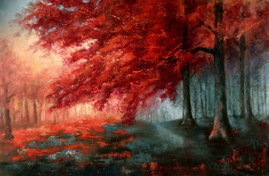 Rode Beuken Olieverf op linnen 100 x 150 cm