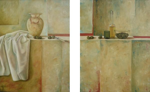 Tweeluik, albasten vaas met olijven 2x 50 x 65 cm